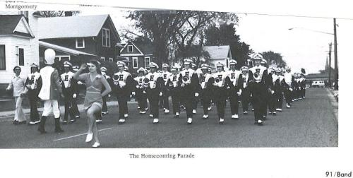 Edison High School Marching Band at the Homecoming Parade in 1976