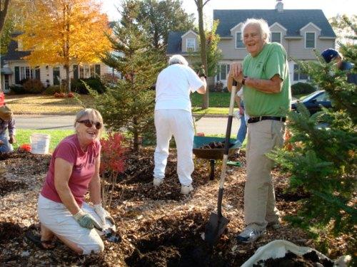 Three volunteers planting trees on Stinson Parkway